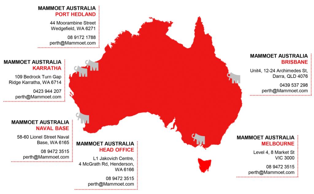 Mammoet Locations Map Australia